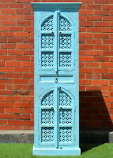 Antique Shabby Chic Sandblasted Blue Hand Carved Mehrab Tall Cabinet Cupboard