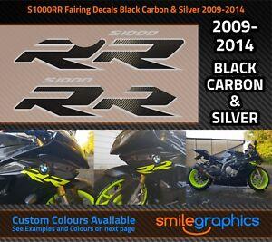BMW S1000RR Carénage Autocollants. 2009-14 Noir Carbone Fibre & Argent Stickers