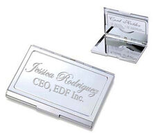 PERSONALIZED HIGH POLISHED SHINY SILVER BUSINESS CARD HOLDER CUSTOM ENGRAVED