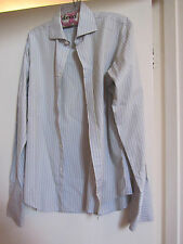 "Light Blue & Yellow Stripe Slim Fit TM Lewin 100 Shirt 15.5"" Collar - Chest 44"""