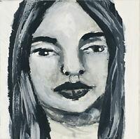 Original OOAK B&W Minature Art Painting Calm Lost Woman Katie Jeanne Wood