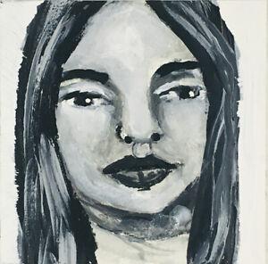 Original B&W Miniature Art Painting Calm Lost Woman Katie Jeanne Wood