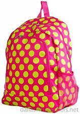 """Personalized Backpack Book Bag Polka Dots Pink Lime Initial(s) Name Free 16""""x12"""""""