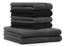 Betz 6tlg Handtuch Set PREMIUM 2Duschtücher 4Handtücher anthrazit & schwarz