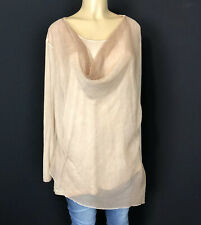 Charlie Paige Long Sleeve Beige Overlay Tee Womens Size XL Casual Stretch Tops