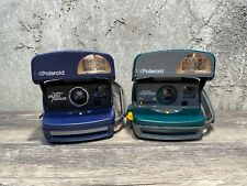 Lot Of 2 Vintage Polaroid One Step Express Green 600 & Auto Focus One Step Blue