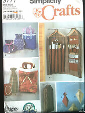 5777 SIMPLICITY Home Gift Wrap Organizer Bag Boxes SEWING Pattern UC