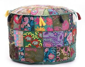 Bean Bag Cover Patchwork Floor Pouf Cover Ottoman Ethnic Pink Foot Stool Cover