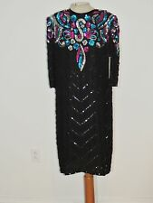 Vintage Jewel Queen Colorful Sequin Silk Dress NWT sz LG