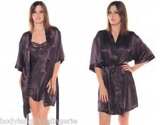 1X/2X/3X BROWN SHORT SATIN ROBE PLUS SIZE LINGERIE