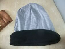 New Casual hat beani? black ribbed one side grey the other - reversible Festival