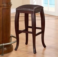 Bar Stools 30 Inches Counter Height Backless Kitchen Home Leather Nailhead Brown