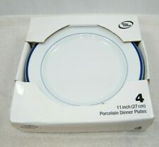 THE CELLAR BLUE AND WHITE PORCELAIN DINNER PLATES