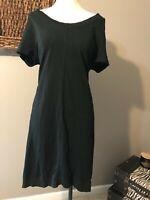 J Jill Black Short Sleeve All Cotton Casual Dress P L Petite Large