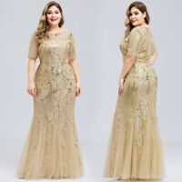 Ever-Pretty Sequin Mesh Long Evening Prom Dress Fishtail Celebrity Cocktail Gown
