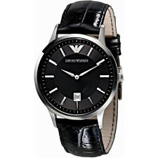 NEW GENUINE EMPORIO ARMANI AR2411 CLASSIC BLACK DIAL LEATHER STRAP MENS WATCH UK