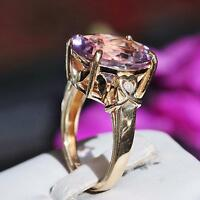 2 hearts 14k yellow gold 6.51ct oval cut ametrine diamond size 6.75 ring 6.1g