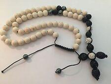 Black Cream Rosary Necklace Beads High Quality Rosario Sinaloense Negro Crema