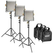 "3 x Dimmable Bi-color 480 LED Video Light + Stand Lighting Kit 79"" Photography"