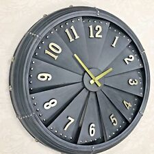 Metal Grey Wall Clock Industrial Vintage Aeroplane Propeller Style