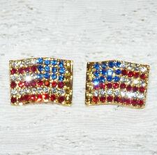 Sparkly Patriotic Red-Clear-Blue Rhinestone American Flag Pierced Earrings DD39*