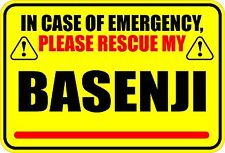 In Case Of Emergency Rescue My Basenji Sticker
