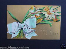Vintage Unused Gold Embossed Best Wishes Greeting  Post card Yellow Daffodils