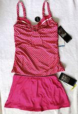 Coco Reef Tankini Underwire Sz 36D/12 Pink Skirted Btms Sz M/10 Retail $134