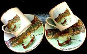 "VINTAGE 1930'S Pr.COFFEE ITALY ""VENEZIA PONET DI RIALTO"" CUPS SAUCERS DEMITASSE"