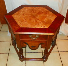 Walnut & Burl Elm Inlaid Hexagon End Table / Side Table  (T326)