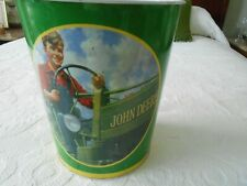 JOHN DEERE FARM COLLECTIBLES WASTE CAN WITH THE JOHN DEERE LOGO