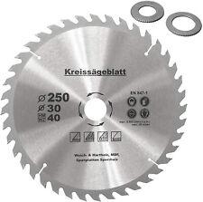 Kreissägeblatt für Holz Ø250 x30mm+2 Reduzierringe 16/20mm Z=40 HM Holzsägeblatt