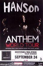 """HANSON """"ANTHEM WORLD TOUR"""" 2013 SAN DIEGO CONCERT POSTER - Tulsa Pop Rock Music"""