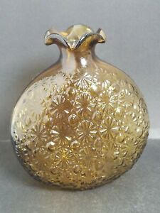 """Vintage Glass Daisy & Button Amber Bud Vase Ruffled Top Wide Base 5.5"""" Tall"""