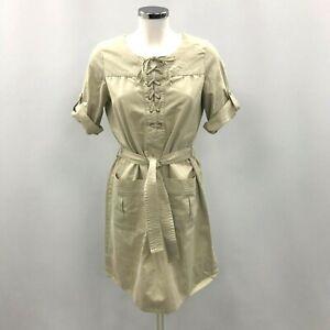 Comptoir Des Cotonniers Dress UK 12 Lattice Tie Short Sleeve Pocket Beige 143019