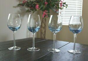"""Mikasa Cobalt Swirl Blue 4 White Wine Glasses 8"""""""