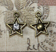 5x mignon antique bronze tone & strass star charms 12mm