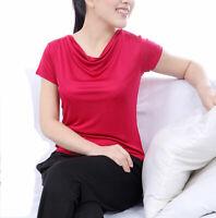 Pure Silk Knit Womens Drape Cowl Neck Short Sleeves Top