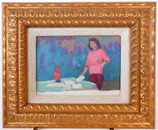ARMENIAN ART,Soviet Impressionist Painting,GIRL/TABLE,1957,HARUTYUNYAN,Armenia
