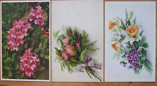 3 alte Ak.Künstlerpostkarten beschriftet 1944 Blumengrüße Rhododendron