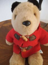 EDEN PADDINGTON BEAR 9 INCHES PLUSH HOODED RED FELT COAT WOODEN BUTTONS