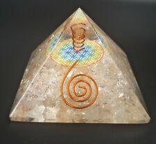 Pirámide Orgonita Cuarzo Blanco 7x7cm Feng Shui Transforma Energía Negativa a +