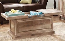 Rustic Wood Coffee Table Storage Trunk Furniture Living Room Weathered Reclaimed