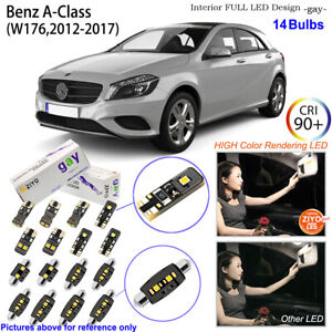 14 Bulbs Deluxe LED Interior Light Kit HID White For Benz A Class W176 2012-2017