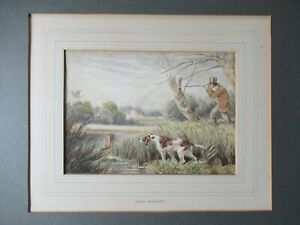 Antique SAMUEL HOWITT Woodcock Shooting Hunting Watercolour Painting Signed