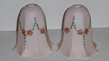 Vintage- Pair of Pink Satin Glass Lamp Shades with Orange Roses from 1930's-40's