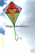 "Geometric Diamond Kite:White & Grn w/Orange Tip:24.5""WX 30"" H:Boys/Girls  7 & Up"