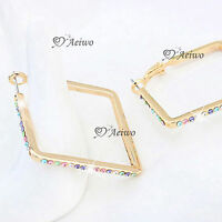 18K YELLOW GOLD GF MADE WITH SWAROVSKI CRYSTAL HOOP STUD EARRINGS SQUARE HOOPS