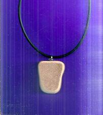 "Unique SCOTTISH SEA POTTERY PEBBLE 18-20"" adjustable rubber pendant necklace"