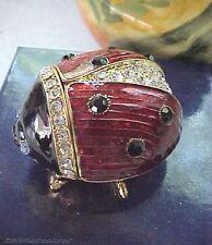 """""""Lofty """" Ladybug ~ Enameled Bejeweled Trinket Box & Matching Necklace #62357"""